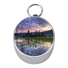 Tamblingan Morning Reflection Tamblingan Lake Bali  Indonesia Mini Silver Compasses