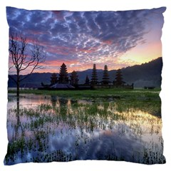 Tamblingan Morning Reflection Tamblingan Lake Bali  Indonesia Large Flano Cushion Case (two Sides)
