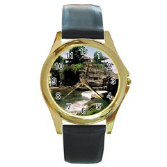 Tanah Lot Bali Indonesia Round Gold Metal Watch