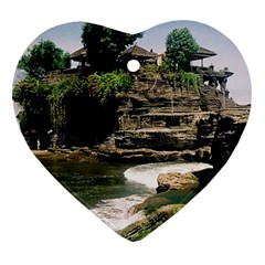 Tanah Lot Bali Indonesia Heart Ornament (two Sides)