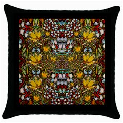 Fantasy Forest And Fantasy Plumeria In Peace Throw Pillow Case (black)