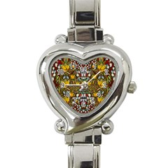 Fantasy Forest And Fantasy Plumeria In Peace Heart Italian Charm Watch