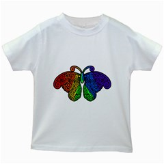 Rainbow Butterfly  Kids White T Shirts