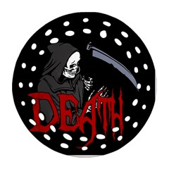 Death   Halloween Round Filigree Ornament (two Sides)