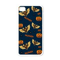 Bat, Pumpkin And Spider Pattern Apple Iphone 4 Case (white)