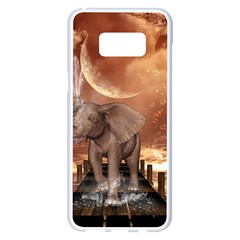 Cute Baby Elephant On A Jetty Samsung Galaxy S8 Plus White Seamless Case