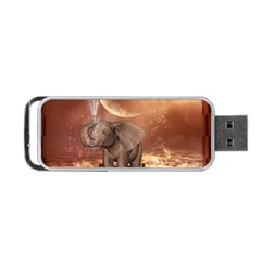 Cute Baby Elephant On A Jetty Portable Usb Flash (one Side)
