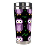 Halloween purple owls pattern Stainless Steel Travel Tumblers Left