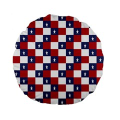 American Flag Star White Red Blue Standard 15  Premium Flano Round Cushions