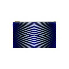 Blue Lines Iterative Art Wave Chevron Cosmetic Bag (small)