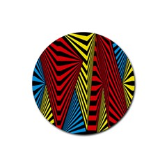 Door Pattern Line Abstract Illustration Waves Wave Chevron Red Blue Yellow Black Rubber Round Coaster (4 Pack)
