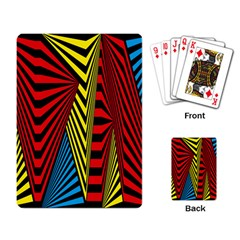 Door Pattern Line Abstract Illustration Waves Wave Chevron Red Blue Yellow Black Playing Card