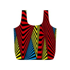 Door Pattern Line Abstract Illustration Waves Wave Chevron Red Blue Yellow Black Full Print Recycle Bags (s)