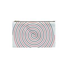 Double Line Spiral Spines Red Black Circle Cosmetic Bag (small)