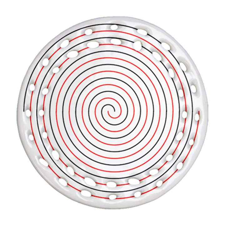Double Line Spiral Spines Red Black Circle Round Filigree Ornament (Two Sides)