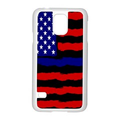 Flag American Line Star Red Blue White Black Beauty Samsung Galaxy S5 Case (white)