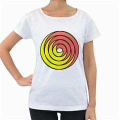 Double Spiral Thick Lines Circle Women s Loose Fit T Shirt (white)