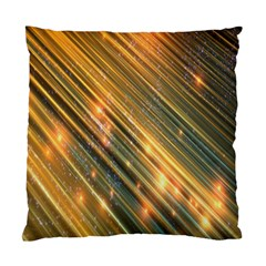 Golden Blue Lines Sparkling Wild Animation Background Space Standard Cushion Case (one Side)
