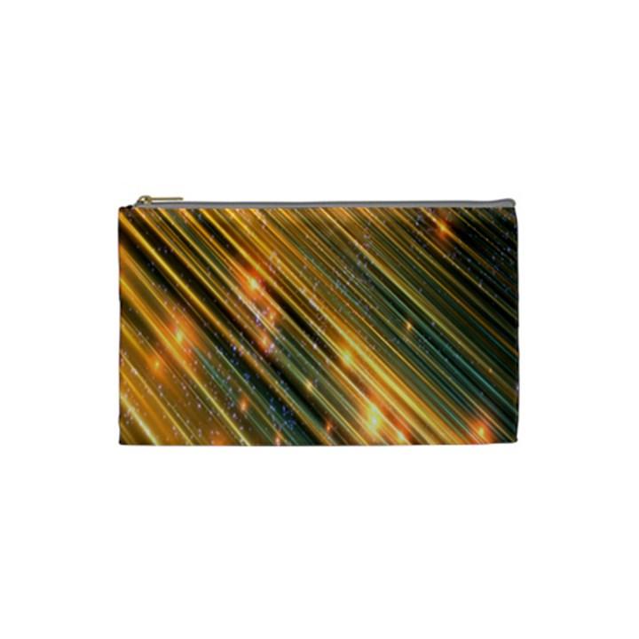 Golden Blue Lines Sparkling Wild Animation Background Space Cosmetic Bag (Small)