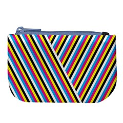 Lines Chevron Yellow Pink Blue Black White Cute Large Coin Purse