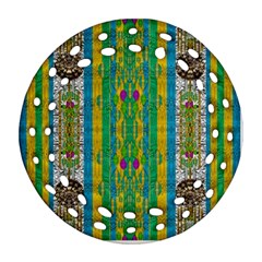 Rainbows Rain In The Golden Mangrove Forest Round Filigree Ornament (two Sides)