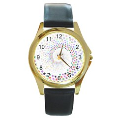 Prismatic Stars Whirlpool Circlr Rainbow Round Gold Metal Watch