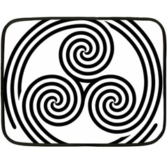 Triple Spiral Triskelion Black Double Sided Fleece Blanket (mini)