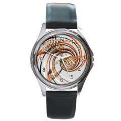 Splines Line Circle Brown Round Metal Watch