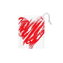 Valentines Day Heart Modern Red Polka Drawstring Pouches (xs)