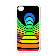 Twisted Motion Rainbow Colors Line Wave Chevron Waves Apple Iphone 4 Case (white)