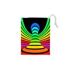 Twisted Motion Rainbow Colors Line Wave Chevron Waves Drawstring Pouches (xs)