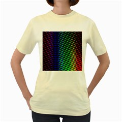 Digitally Created Halftone Dots Abstract Background Design Women s Yellow T Shirt