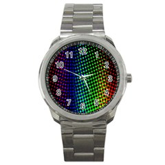 Digitally Created Halftone Dots Abstract Background Design Sport Metal Watch