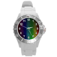 Digitally Created Halftone Dots Abstract Background Design Round Plastic Sport Watch (l)