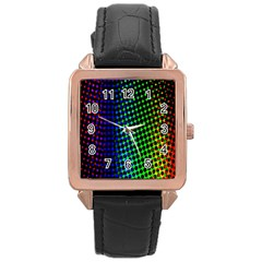 Digitally Created Halftone Dots Abstract Background Design Rose Gold Leather Watch