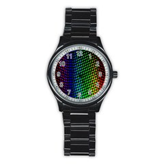 Digitally Created Halftone Dots Abstract Background Design Stainless Steel Round Watch