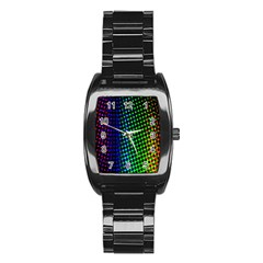 Digitally Created Halftone Dots Abstract Background Design Stainless Steel Barrel Watch