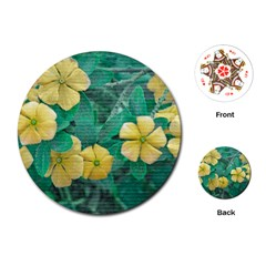 Yellow Flowers At Nature Playing Cards (round)