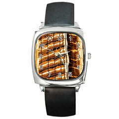 Abstract Architecture Background Square Metal Watch