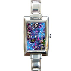 Background Chaos Mess Colorful Rectangle Italian Charm Watch