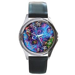 Background Chaos Mess Colorful Round Metal Watch