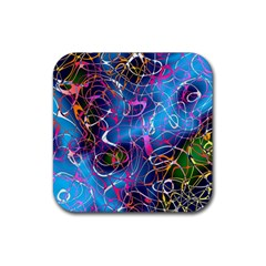 Background Chaos Mess Colorful Rubber Coaster (square)