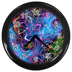 Background Chaos Mess Colorful Wall Clocks (black)