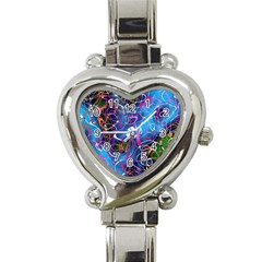 Background Chaos Mess Colorful Heart Italian Charm Watch