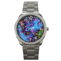 Background Chaos Mess Colorful Sport Metal Watch