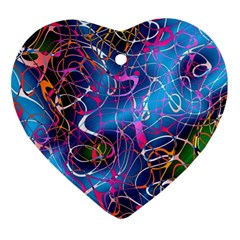 Background Chaos Mess Colorful Heart Ornament (two Sides)