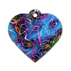 Background Chaos Mess Colorful Dog Tag Heart (two Sides)