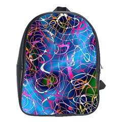 Background Chaos Mess Colorful School Bag (large)