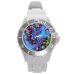 Background Chaos Mess Colorful Round Plastic Sport Watch (l)