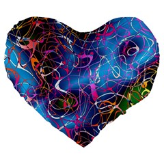 Background Chaos Mess Colorful Large 19  Premium Heart Shape Cushions